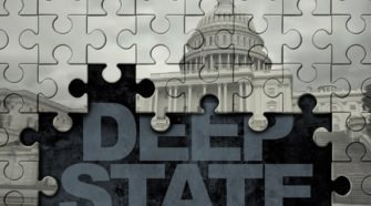 Deep State American Politics Concept And United States Political Symbol Of A Secret Underground Gove